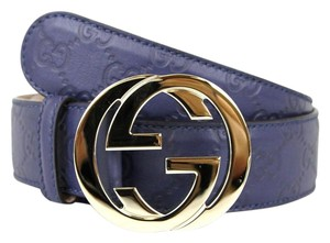Gucci NEW Authentic GUCCI Belt w/Interlocking G Buckle 114876Blue Guccissima Leather/4233 80/32