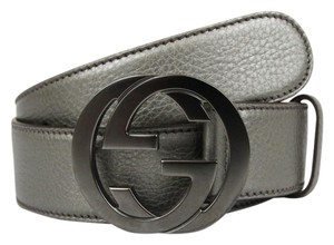 Gucci Belt w/Interlocking G Buckle 114876 Metallic Gray Leather/9640 115/46