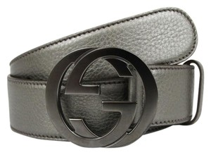 Gucci NEW Authentic GUCCI Belt w/Interlocking G Buckle 114876 Metallic Gray Leather/9640 120/48