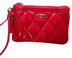 Coach Leather Hot Patent Wristlet in Red