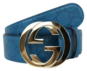 Gucci NEW Authentic GUCCI Belt w/Interlocking G Buckle 114876 Teal Guccissima Leather/4618 85/34
