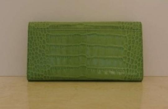 Kate Spade Kate Spade Green Alligator Embossed Leather Checkbook Wallet