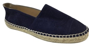 Chanel Espadrille Suede Navy Flats