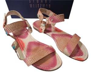 Stuart Weitzman Python Hand Painted Pink Multicolor Sandals