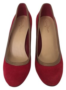 Cole Haan Metallic Leather Chucky Red Velvet Suede Heel Round Toe Gold Bronze Designer Red/Bronze Pumps