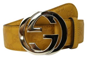 Gucci NEW Authentic GUCCI Belt w/Interlocking G Buckle 114876 Yellow Guccissima Leather/7012 85/34