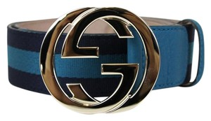 Gucci Belt w/Interlocking G Buckle 114876 Blue Webbing/4174 110/44