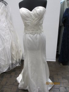 Casablanca Ivory/Champagne Silk Satin B063 (41s) Formal Wedding Dress Size 14 (L)