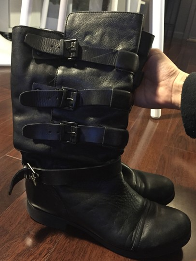 Modern Vintage Mid-calf Designer Couture Buckle Knee High black Boots