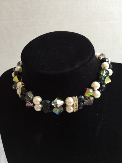 Other Faux Pearl Clear/Black Crystal Collar Necklace/ Earrings Set