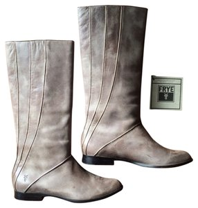 Frye Leather Grey with silver piping Boots
