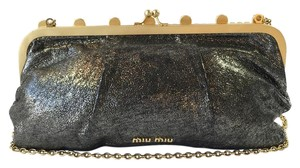 Miu Miu Crystals Metallic Silver Clutch