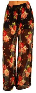 Betsey Johnson Black Wide Wide Leg Pants Floral