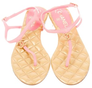 Chanel Gold Hardware Interlocking Cc Pink, Beige Sandals