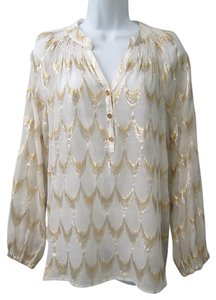 Lilly Pulitzer Metallic Silk Top White