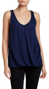 Alice + Olivia Drape Silk Top Navy