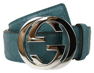 Gucci NEW Authentic GUCCI Mens Belt w/Interlocking G Buckle 114984 Teal Guccissima Leather/4715 95/38