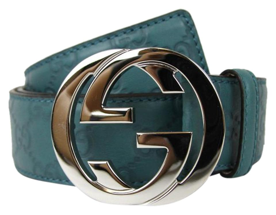 de6661f21e7 Gucci Belt w Interlocking G Buckle 114984 Teal Guccissima Leather 4715  95 38 ...