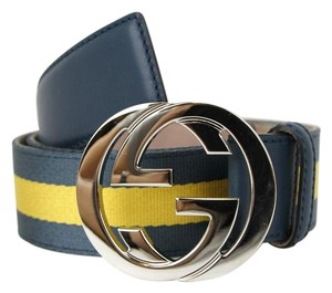Gucci NEW Authentic GUCCI Mens Belt w/Interlocking G Buckle 114984 Blue Yellow Webbing/4469 115/46