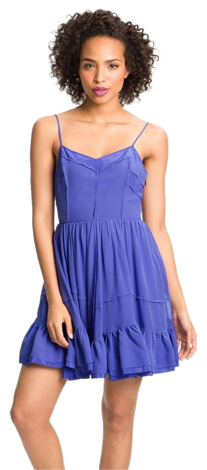 Juicy Couture Blue Silk Ruffle Above Knee Night Out Dress Size 2 (XS ... f22aa5ecf