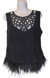 BCBGMAXAZRIA Feathers Cut Outs Sequins Fun! Top black