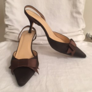 J.Crew Bow Slingback Satin Bow Brown Pumps