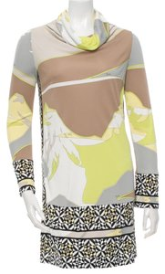 Emilio Pucci Longsleeve Print Monogram Logo Cowl Neck Dress