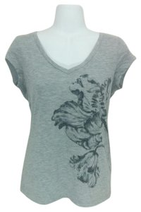 LC Lauren Conrad V-neck Floral Rhinestone Short Sleeve Casual T Shirt Gray
