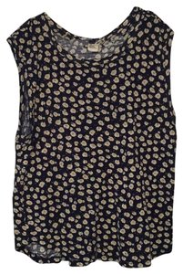 Forever 21 Top Navy Blue with tiny flowers