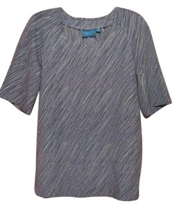 Simply Vera Vera Wang Accents Casual Top Light Blue/White