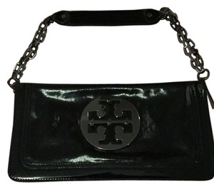 Tory Burch Black Patent With Silver Logo Clutch