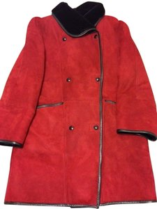 Charles Jourdan Lambskin Suede Leather Fur Coat