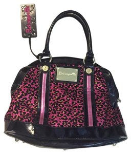 Betsey Johnson Tote in Black/pink Leopard