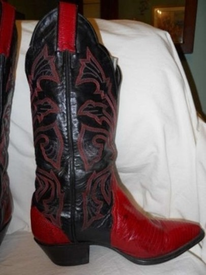 Tony Lama Leather black & red Boots