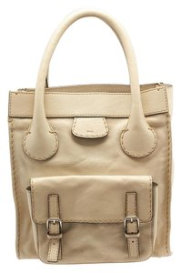 Chloé Edith Leather Tote in Cream