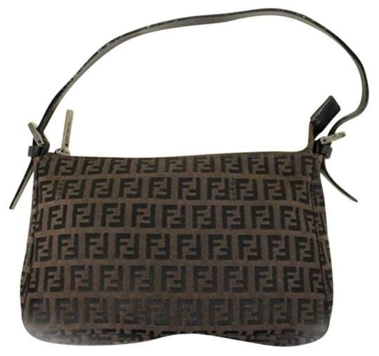 Fendi Chocolate Monogram Clutch Wristlet in Dark Brown