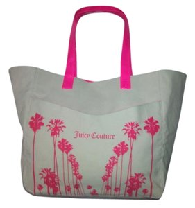 Juicy Couture Large Beach Tote in Off White Canvas with Hot Pink Logo accents and handles.