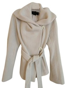 BCBGMAXAZRIA Wool Tie Waist Hooded Pea Coat