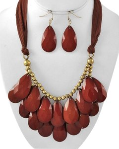 Burnished Gold Tone Brown Acrylic & Fabric Charm Necklace & Fish Hook Earring