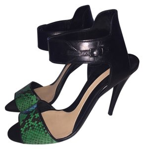 Narciso Rodriguez Leather Snakeskin black/Emerald Green Sandals