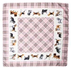 Burberry Black, pink, beige Burberry House check dog print oversized scarf