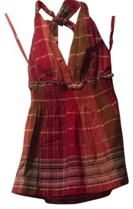 BCBG Max Azria Top Deep Red Plaid