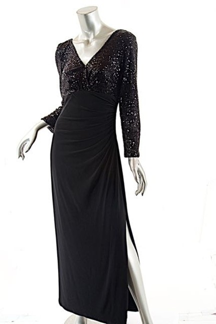 Ralph Lauren Black By Stretch Jersey Sequin Empire Gown Long Formal ...