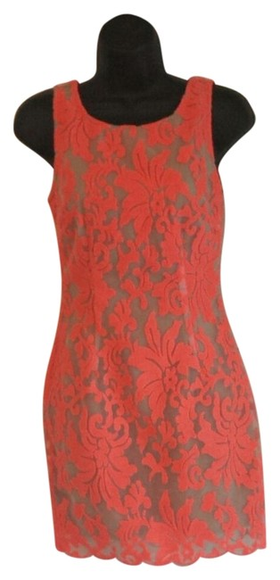 Item - Hot Coral and Nude Above Knee Night Out Dress Size 0 (XS)