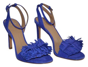 Banana Republic Suede Fringe Cobalt Ankle Strap Blue Sandals