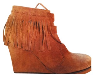Zara Fringe Wedge Tan Boots