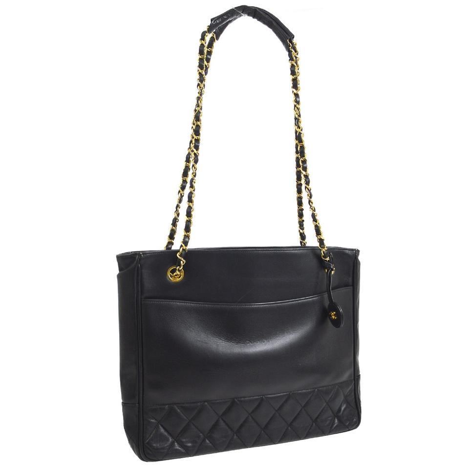 d6dca8de78fb Chanel Gold Chain Tote Black Lambskin Leather Shoulder Bag - Tradesy