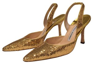 Manolo Blahnik Gold Sequin Formal