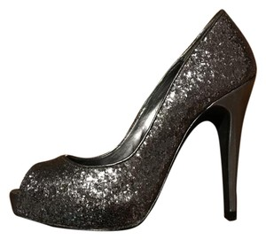 Michael Antonio Sparkle Glam Heels Silver Pumps