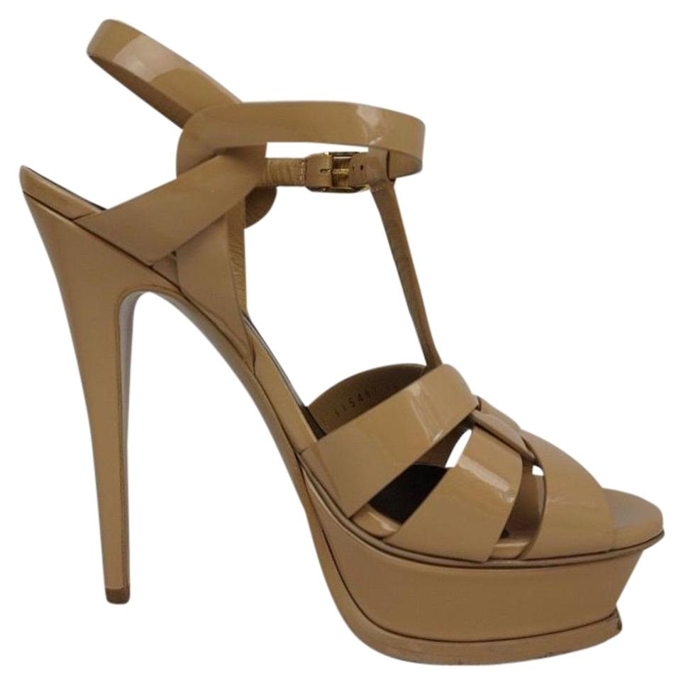 Saint Laurent Dark Nude Tribute Sandals Beige Patent T-strap Platform Sandals Tribute c43489